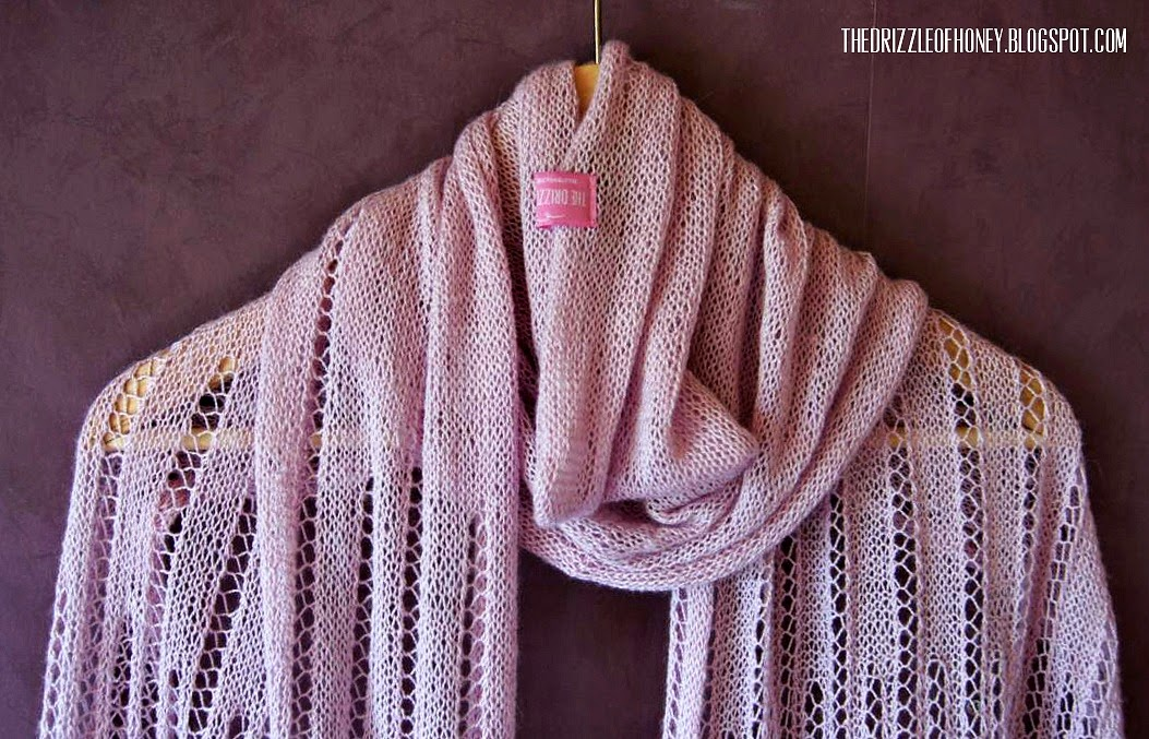 The Drizzle of Honey: Powder Pink Lace Shawl - free pattern