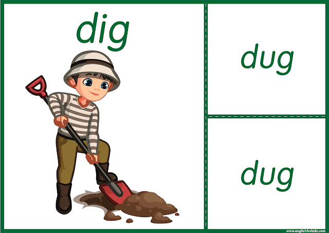 Irregular verb dig - printable ESL flashcards