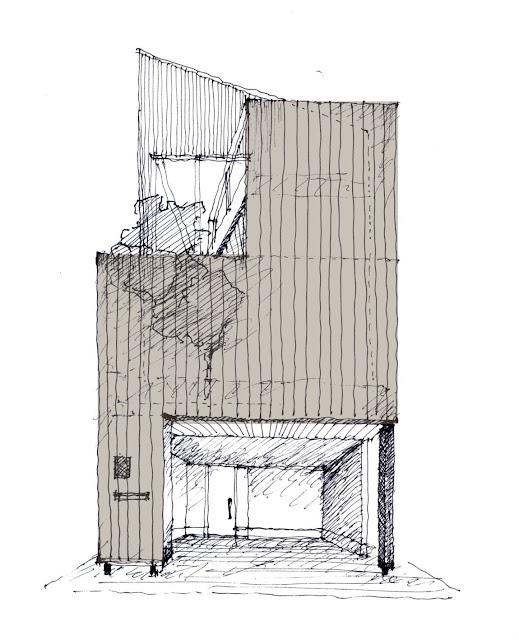 木製スクリーンとバルコニーのある三階建て狭小都市型住宅 外観の計画(立面)