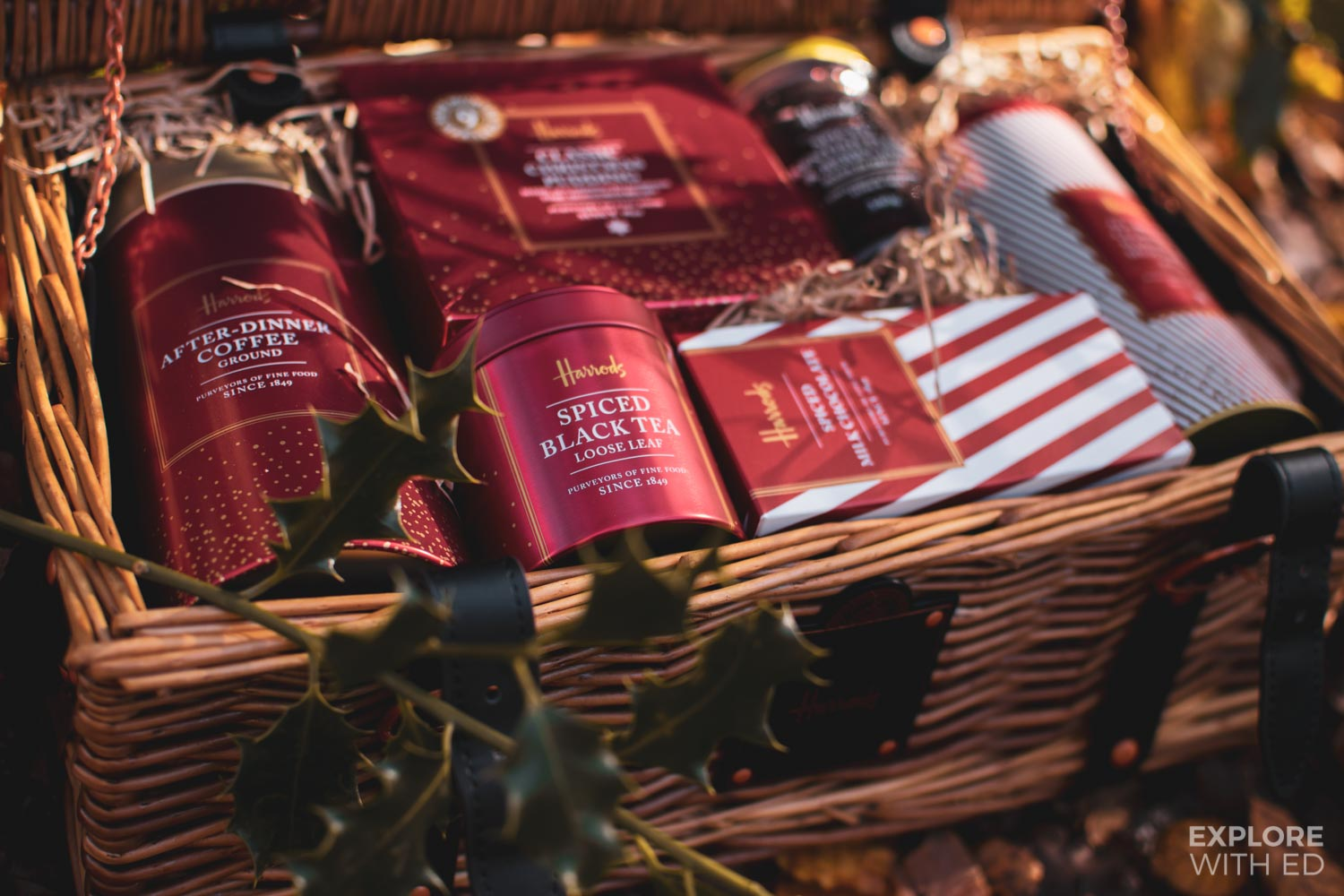 Harrods Christmas hamper range including spiced black tea