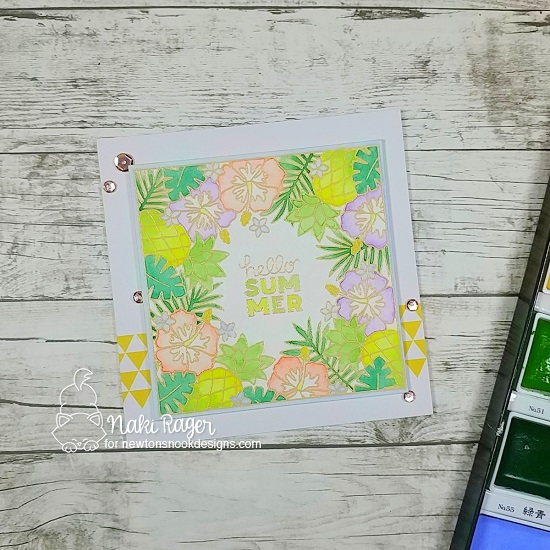 Hello Summer Tropical Watercolor Card by Naki Rager | Tropical Fringe Stamp Set by Newton's Nook Designs #newtonsnook #handmade