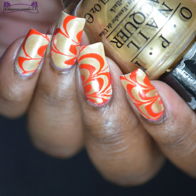 Watermarble Wednesdays: Red & Gold