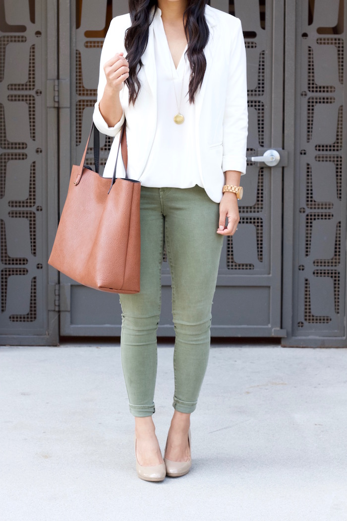 Olive Jeans + White Blouse + White Blazer + Nude Pumps