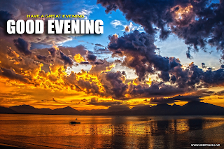 Sunset Evening Greetings Gold Color Clouds Sky Sea boat