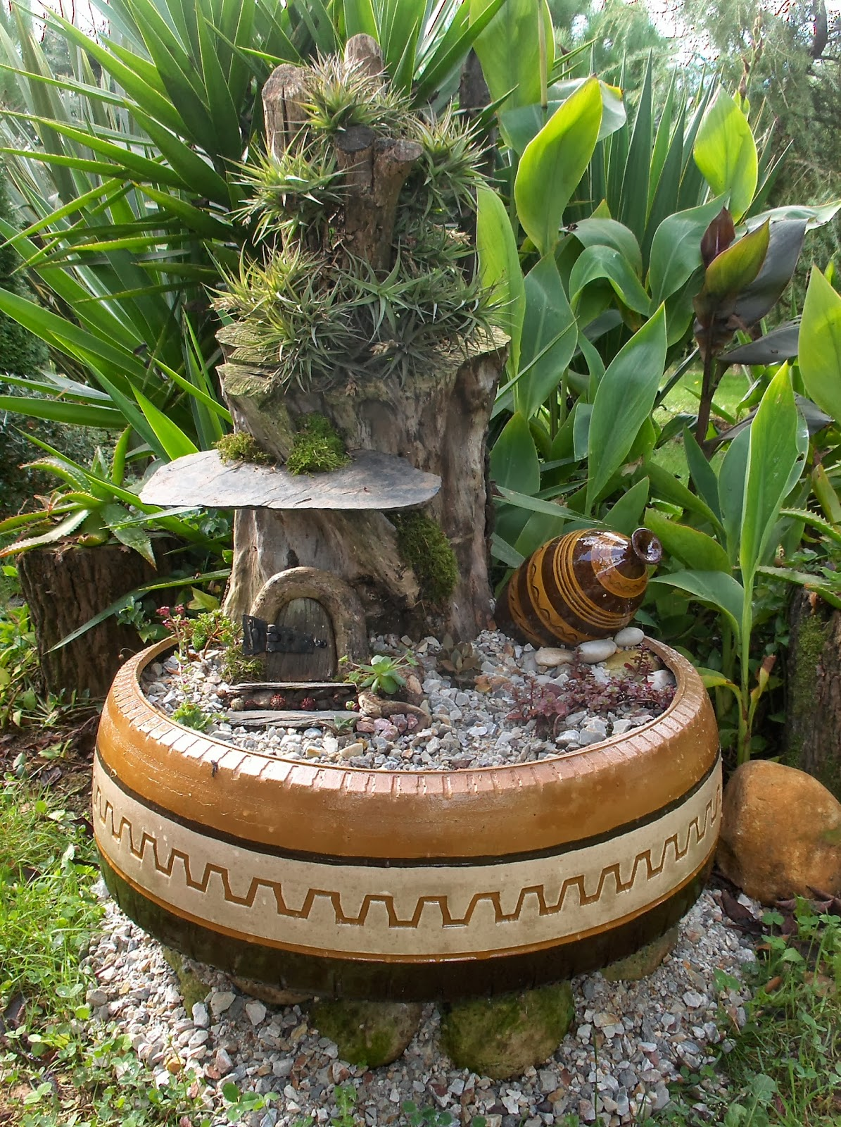 how to make a wishing well out of tires