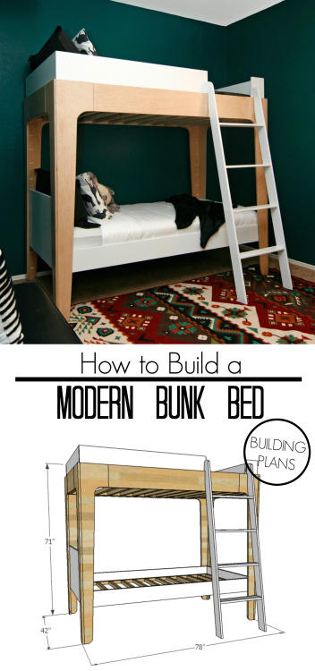 FREE building plans tutorial modern DIY bunk beds