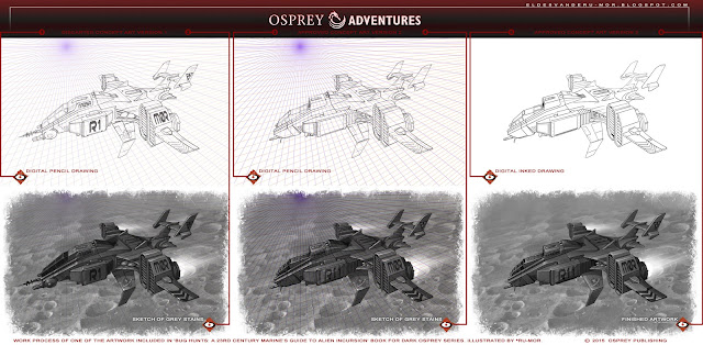 illustration of Bug Hunts book, done by RU-MOR for OSPREY Adventures, sci-fi wargame, 'Dark Osprey' collection, Osprey Publishing, alien, bug, star marines, army, space guns