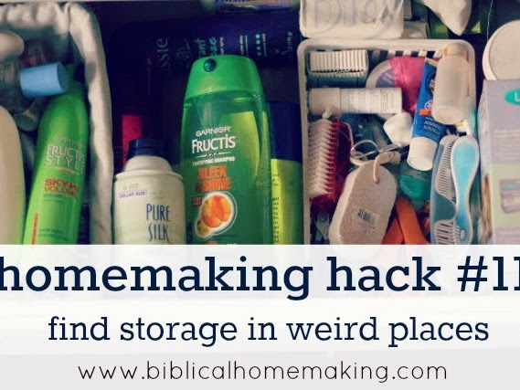 homemaking hack #11: find storage in weird places