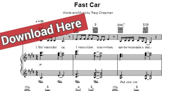 Free Score Jasmine Thompson Fast Car Sheet Music Piano Notes Chords - Fast car jasmine
