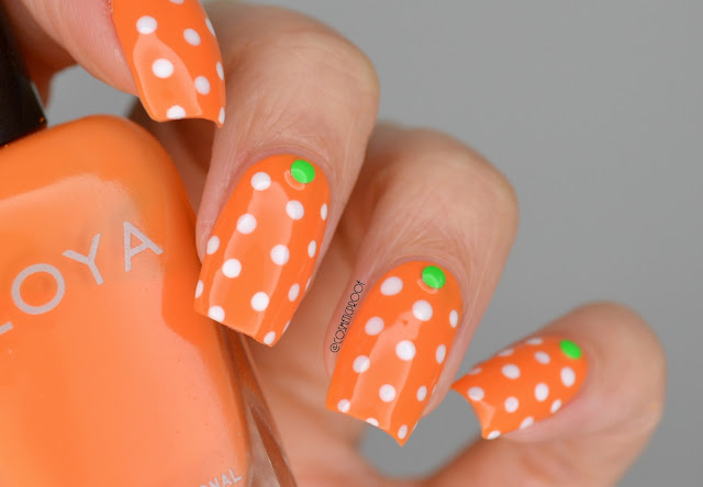 Orange and White Polka Dot Nail Art