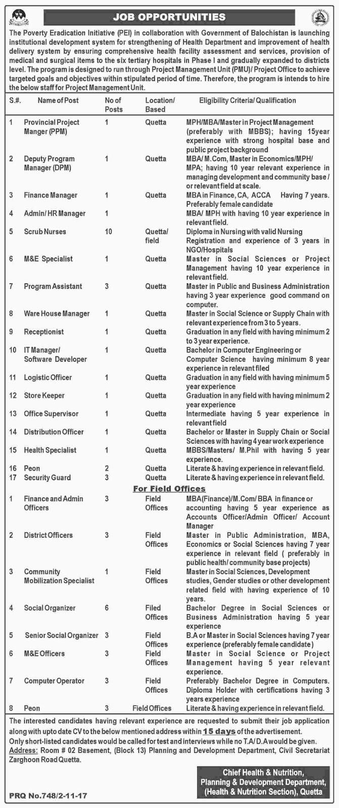 Baluchistan jobs,Quetta jobs,PEI jobs, Jobs in Pakistan, Pakistan Jobs,Jobs in Quetta
