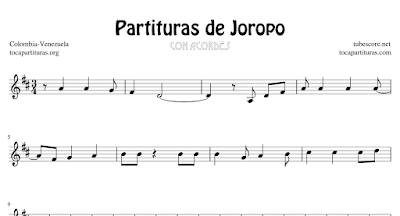 4 Partituras de Joropo Alma Llanera, Ay mi Llanura, El Sanjuanero Partituras con Acordes en Clave de Sol