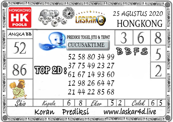Prediksi Togel HONGKONG LASKAR4D 25 AGUSTUS 2020