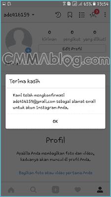 cara konfirmasi email instagram