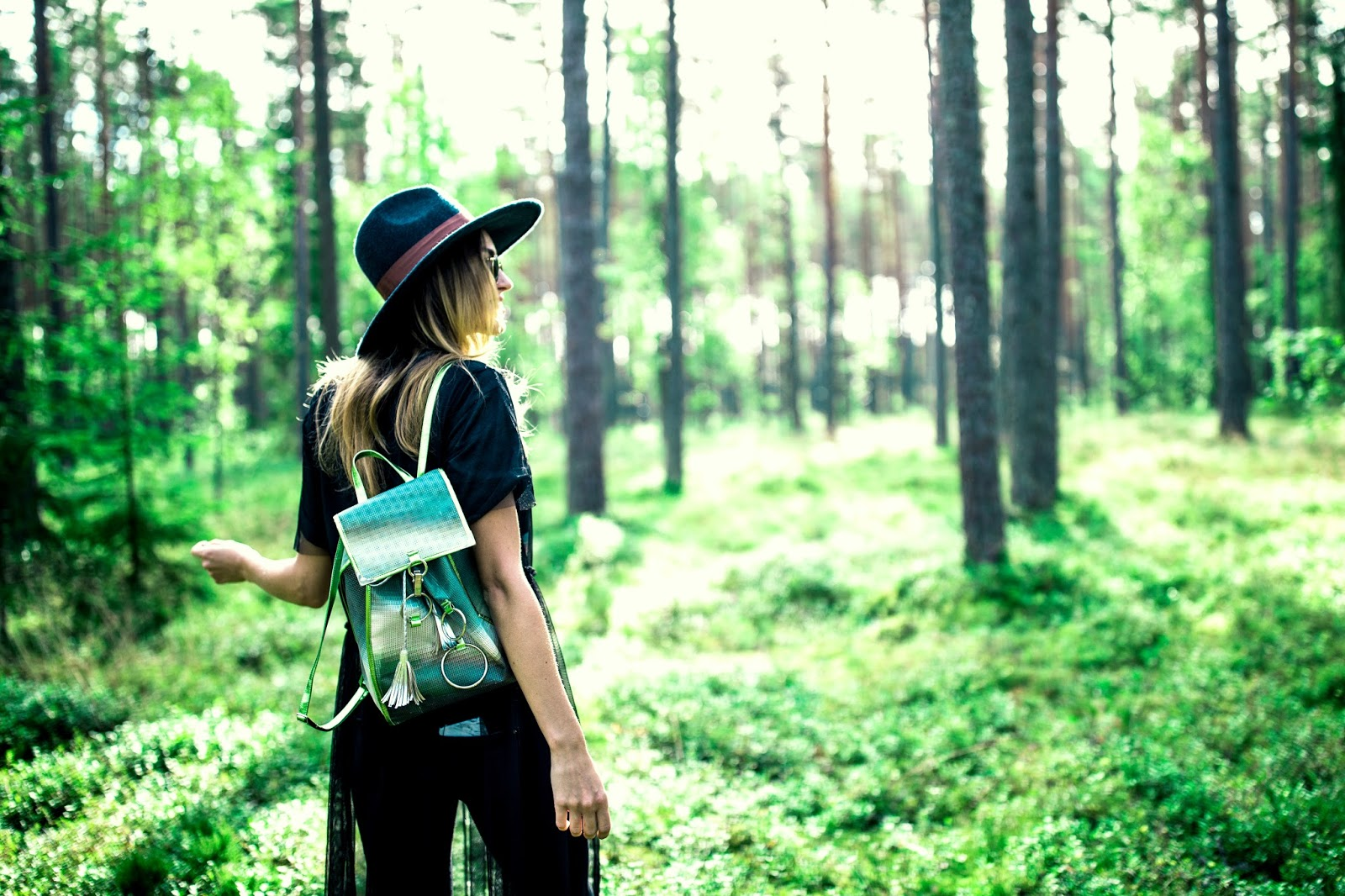 hiking in forest summer girl