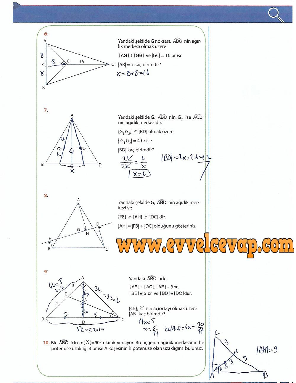 9.Sınıf Matematik MEB Yayınları Ders Kitabı 243.Sayfa Cevapları Üçgenler
