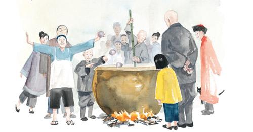 La soupe aux cailloux: Fou, Lou et Shou rassemblent les villageois