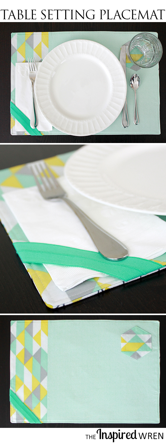 Love the subtle cues for setting the table and the napkin holder for outside! | TUTORIAL: Table Setting Placemat | The Inspired Wren