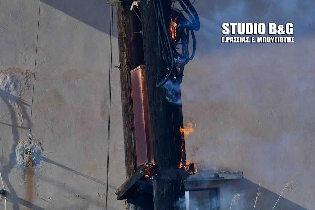 Πυρκαγιά σε μετασχηματιστή της ΔΕΗ στην Άρια Ναυπλίου