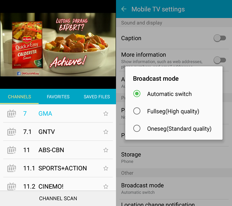 DTV interface and settings