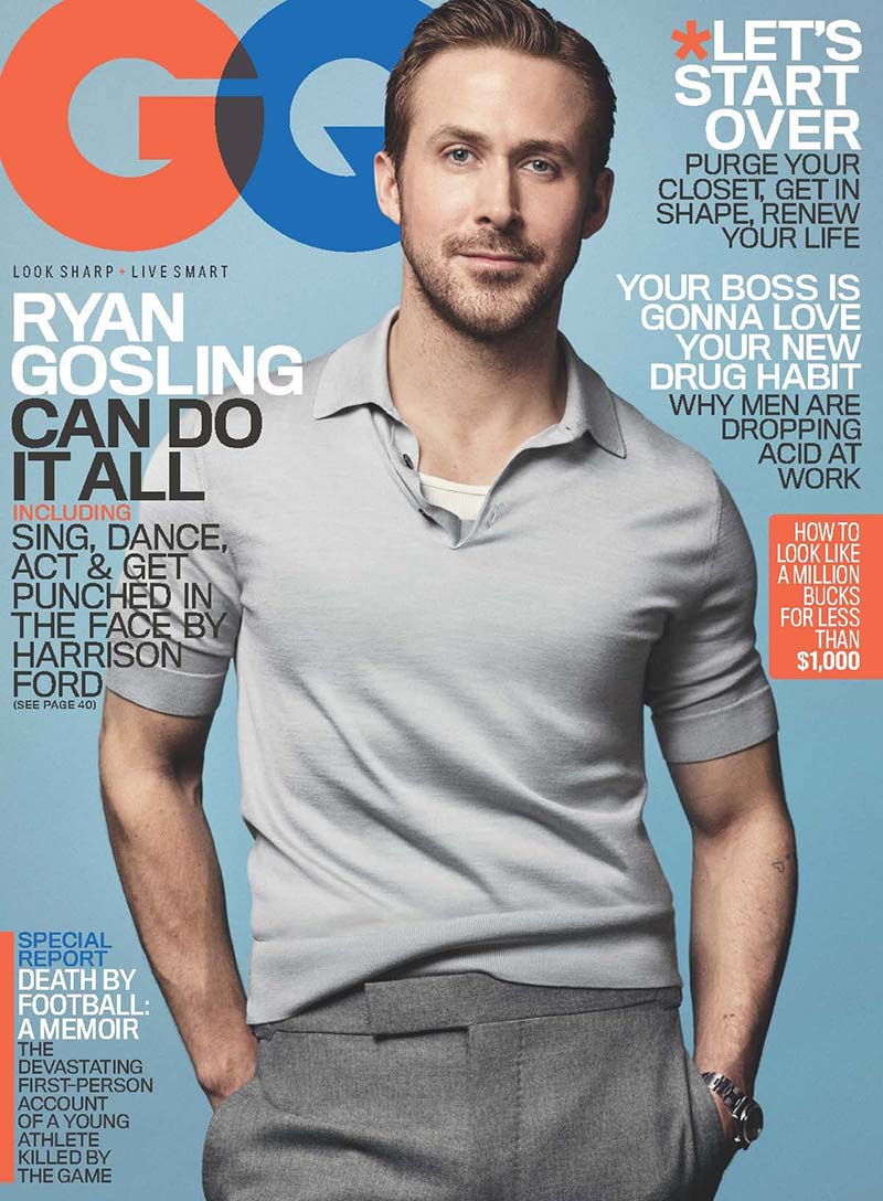 Ryan Gosling covers GQ - January 2017, by the photographer Craig McDean.