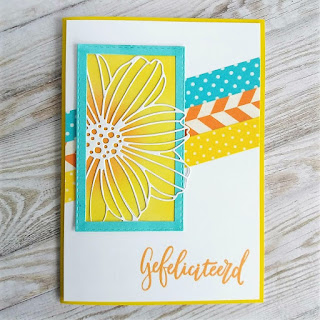 Cheerful card with SSS Cosmo Flower Frame die