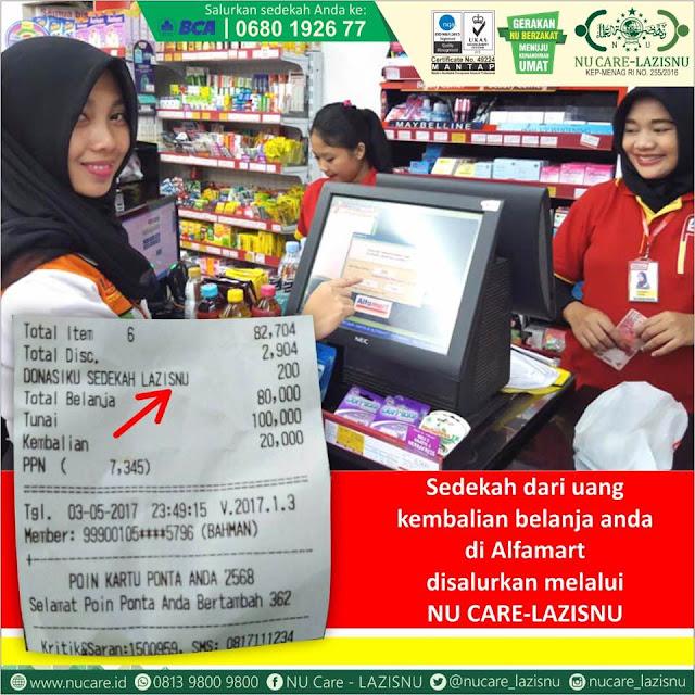 Konsumen Bisa Sedekah via LazisNU di Alfamart