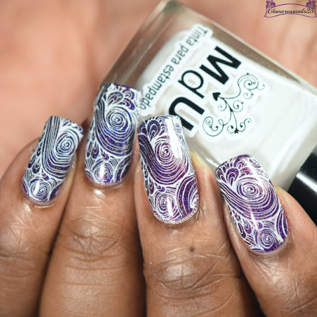 Purple & White Stamping Nail Art