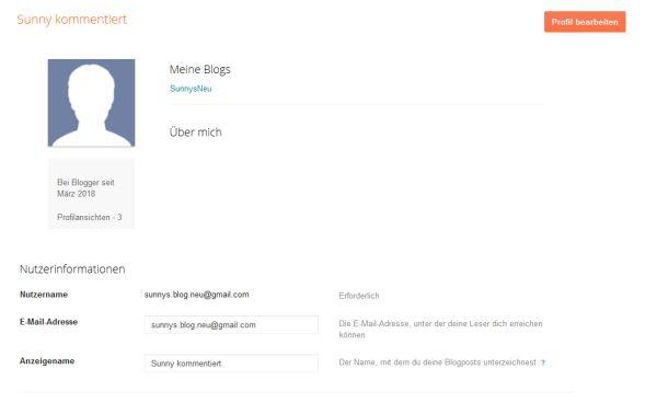 Blogger Nutzerprofil, statt Google+ Profil