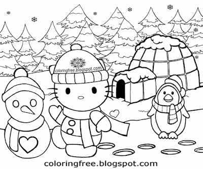 Beautiful winter igloo and penguin cartoon girls hello kitty coloring in easy artistic drawing ideas