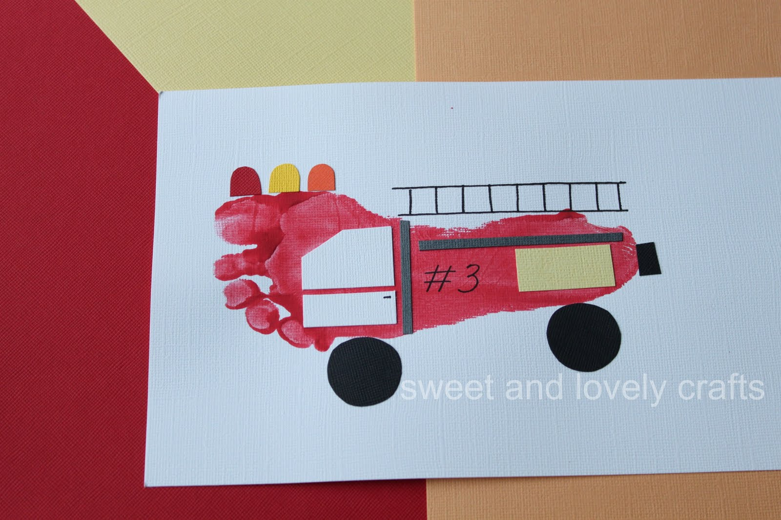 Sweet And Lovely Crafts Footprint Fire Trucks