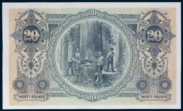 Australian 20 Pounds 1913 Lumberjacks at Bruny Island - Timber cutting on Bruny Island, Tasmania, circa 1895. Reproduced courtesy of Forestry of Tasmania, from a photograph by John Watt Beattie.