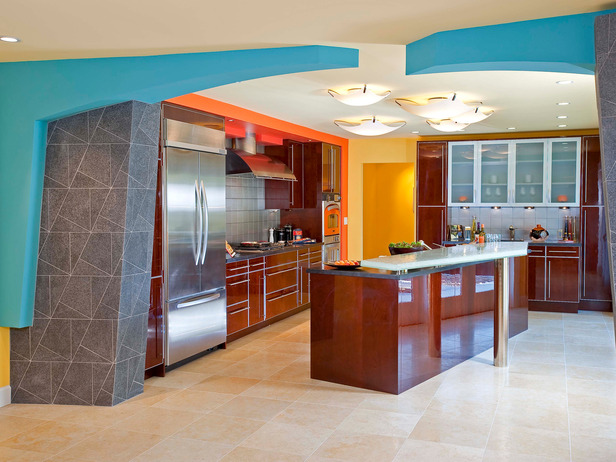 kitchen front design. The Design Of The Kitchen Was Inspired By Bright Orange Oven  Asymmetrical Arch Is An Illusion Because Two Halves Don T Actually Connect Modern Furniture Asian Kitchen Design Ideas 2011 From HGTV