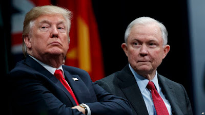 His Master's Voice: Attorney General Jeff Sessions (right) and Donald Trump