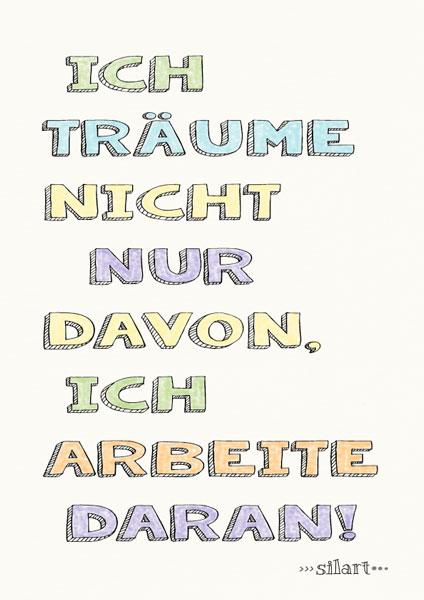 Ich arbeite daran, lettering card