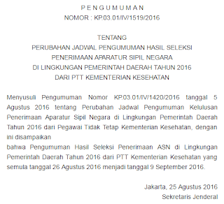 Pengumuman Hasil Tes CPNS Bidan PTT 9 September 2016