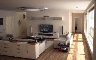 decoraçao para sala de estar com TV de tela plana