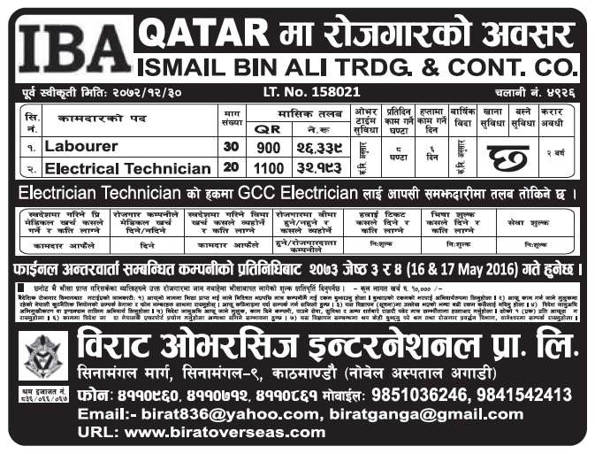 Jobs in Qatar for Nepali, Salary Up to Rs 32,193