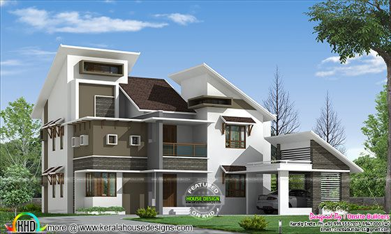 Slanting roof style modern home