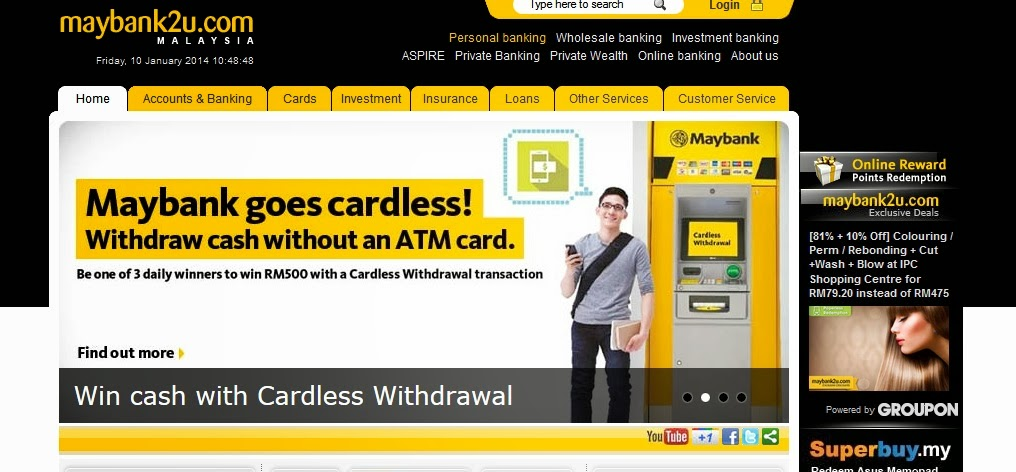 Maybank's Cardless Withdrawal Service can be accessed and triggered via Maybank2u.com