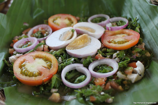 Ensaladang Pako-- actually ferns with salted egg, tomato, and other stuff
