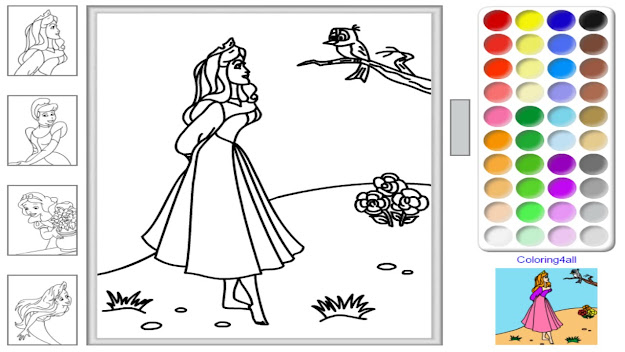 Free Disney Princess Online Coloring Pages  Disney Princess Coloring Game  For Kids  Youtube