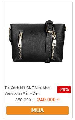 Túi xách nữ CNT mini khóa vàng xinh xắn