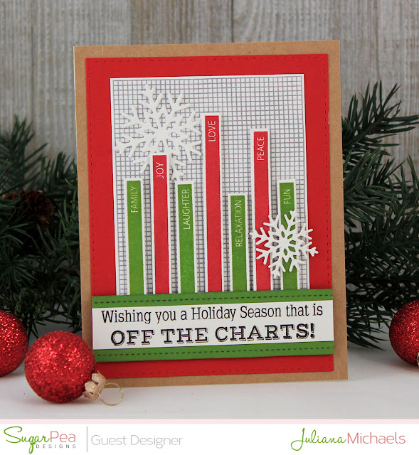 Holiday Season Graph Christmas Card by Juliana Michaels featuring Off The Charts Stamp Set by Sugar Pea Designs