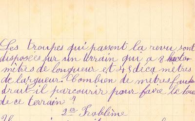 Problème, cahier de devoirs journaliers, 1906 (collection musée)
