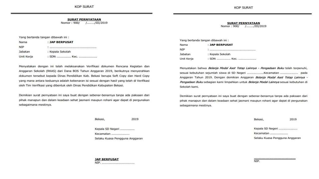 Contoh Surat Pernyataan RKAS, Verifikasi dan Belanja Modal