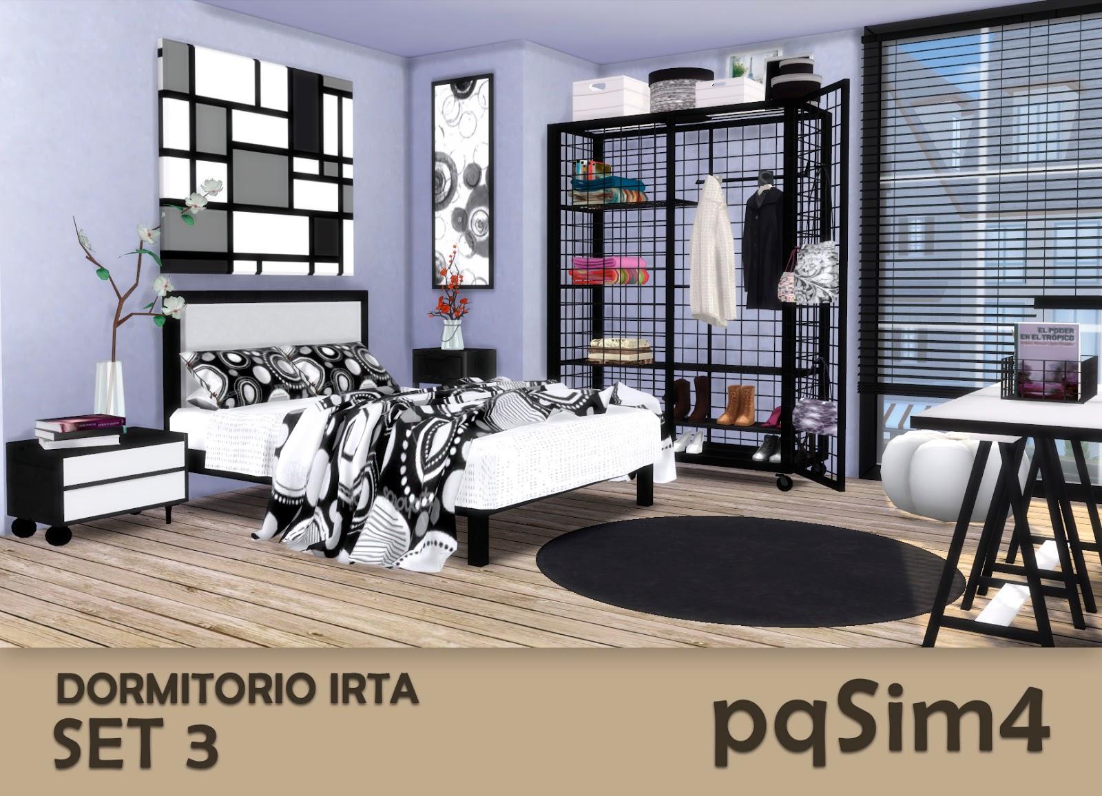 Irta bedroom set n 3 sims 4 custom content for Dormitorio sims 4