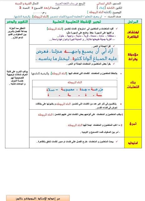جذاذات الوحدة 4 الاسبوع 3  مرجع في رحاب في اللغة العربية المستوى الثاني