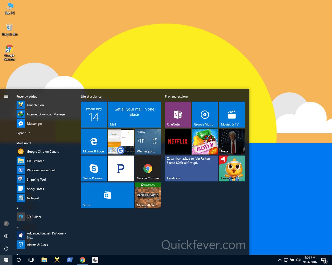 how to change start menu icons windows 10