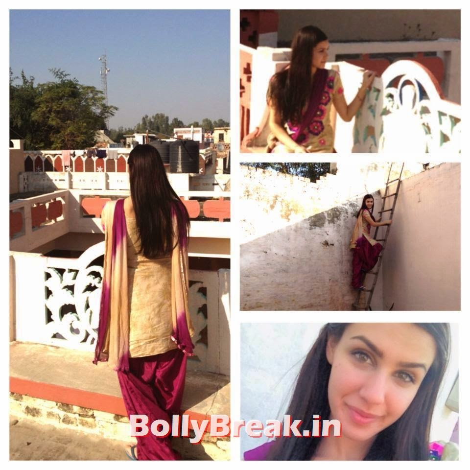 Punjabi Jatti Girl on rooftop in village home, Punjabi Jatti Girl Pics in Punjabi Suit